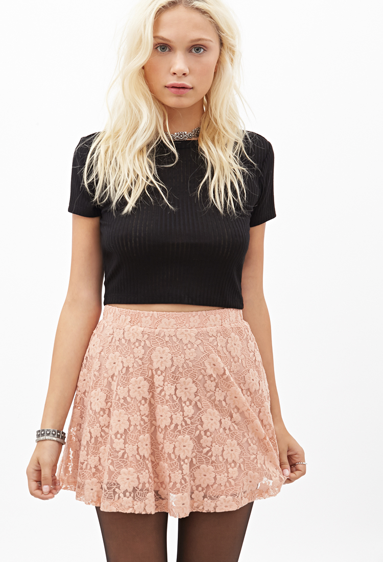 a37dc48aca Lyst - Forever 21 Floral Lace Skater Skirt in Pink