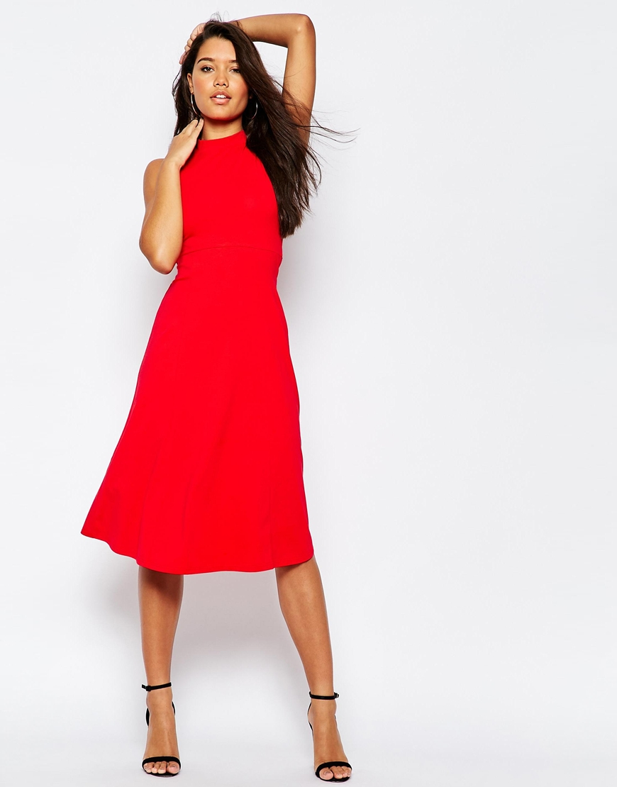 37d134d24c ASOS Midi Skater Dress With High Neck in Red - Lyst
