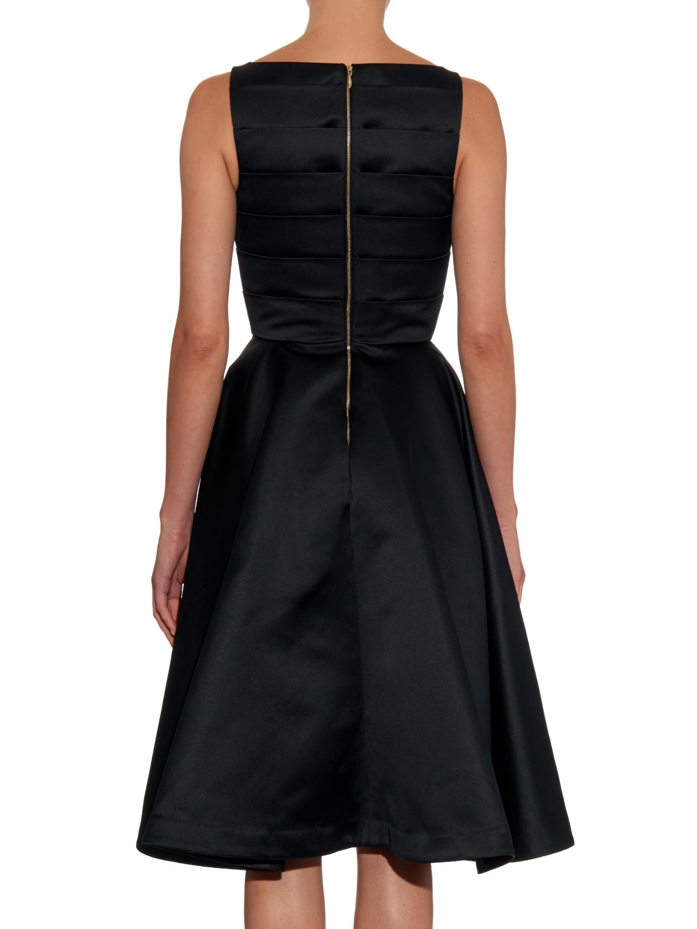 Lyst Rochas Pleated Duchess Satin Dress In Black