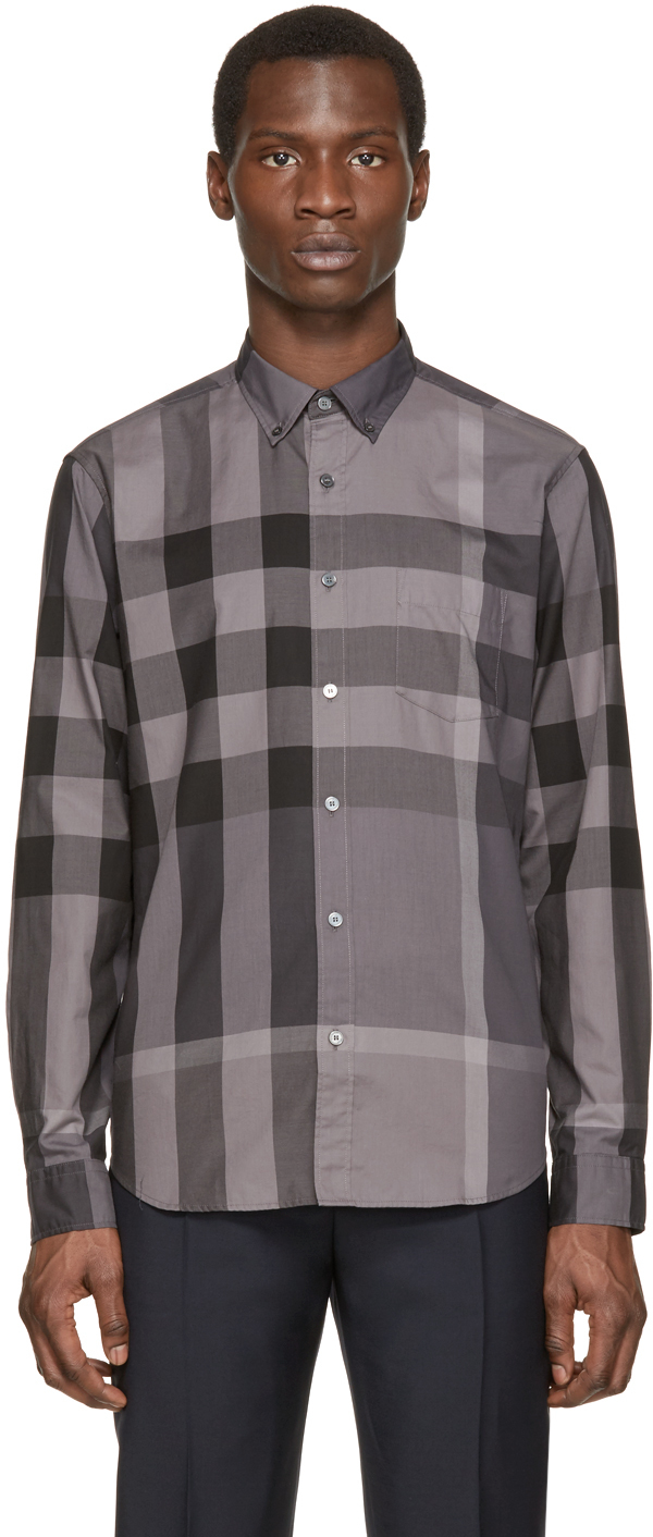 61c58b257dad Burberry Brit Grey Giant Exploded Check Shirt in Gray for Men - Lyst
