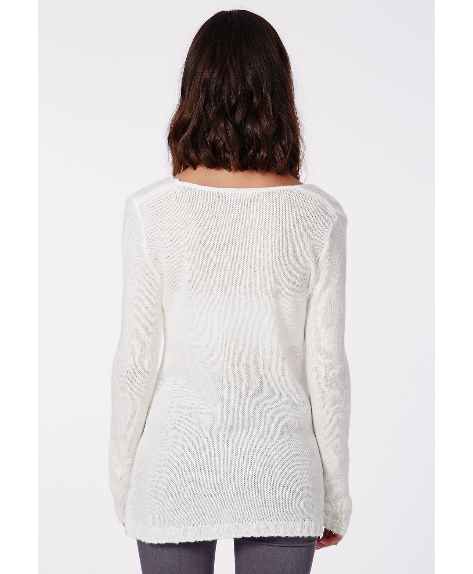 06a32c64549 Lyst - Missguided Ollie V-Neck Fluffy Knit Jumper In Cream in Natural