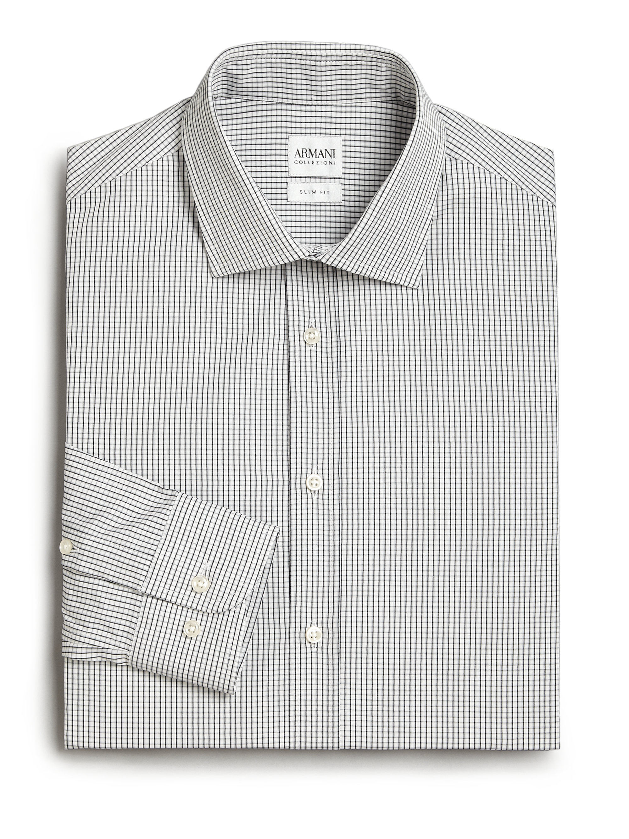 Armani extra slim fit checked dress shirt in black for men for Extra slim dress shirt