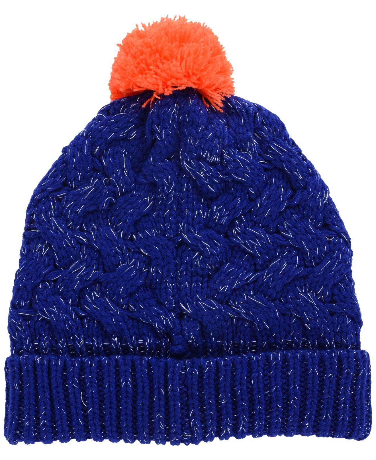 95c394b7b1b ... norway lyst 47 brand womens new york islanders fiona pom knit hat in  blue 0576a 9039e