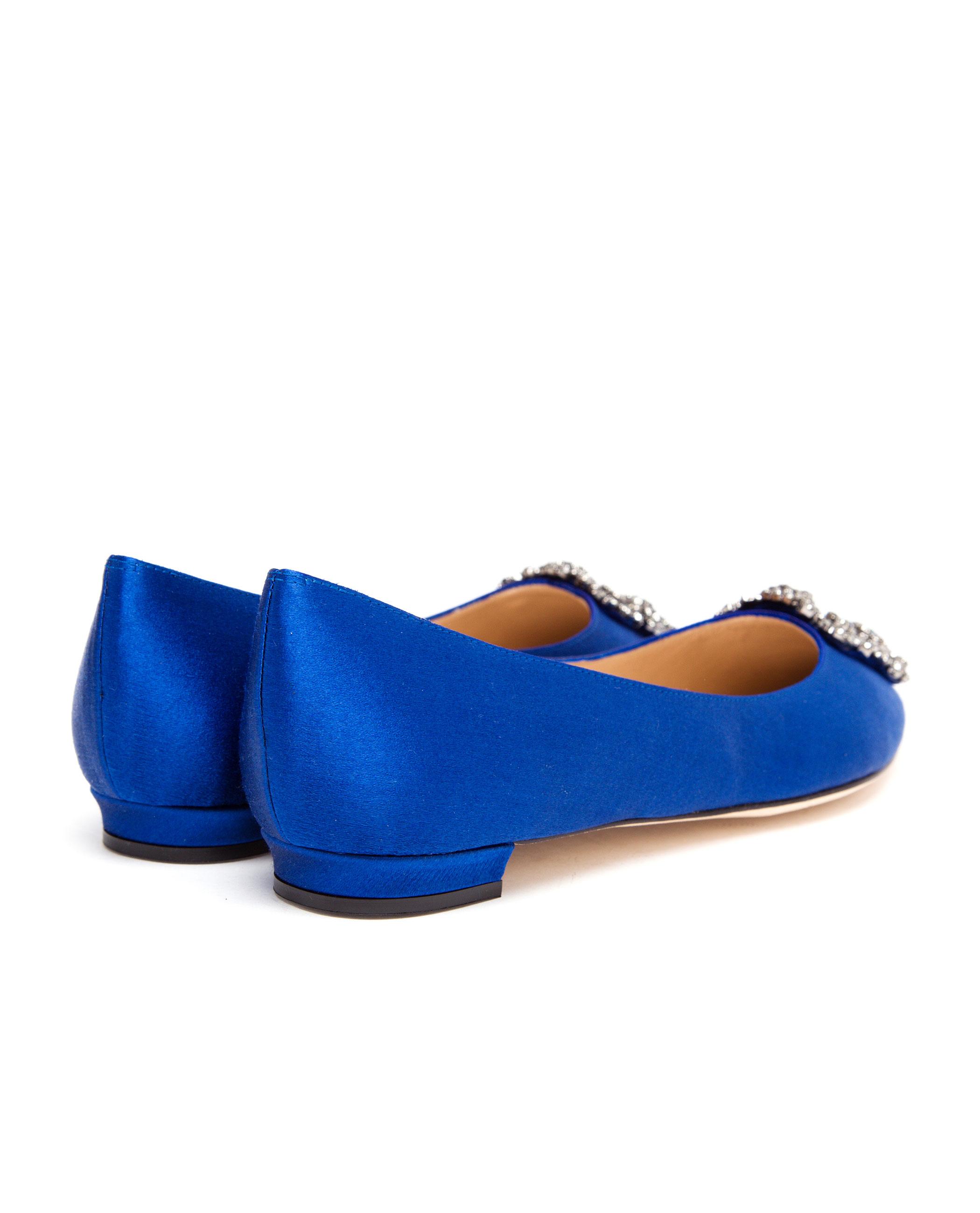 Lyst Manolo Blahnik Hangisi Embellished Satin Flats In Blue