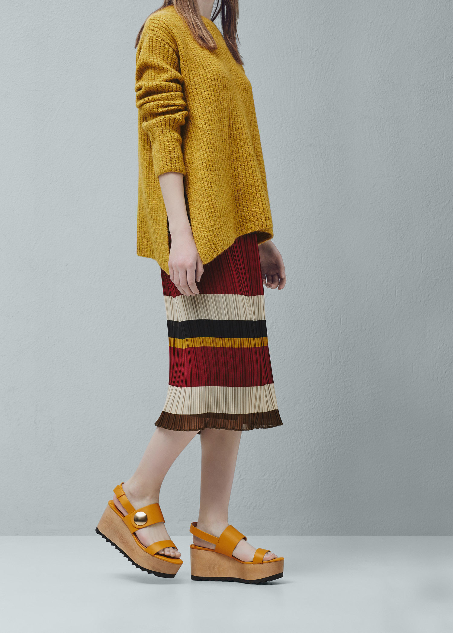 e5250712dc7 Mango Yellow Platform Strap Sandals