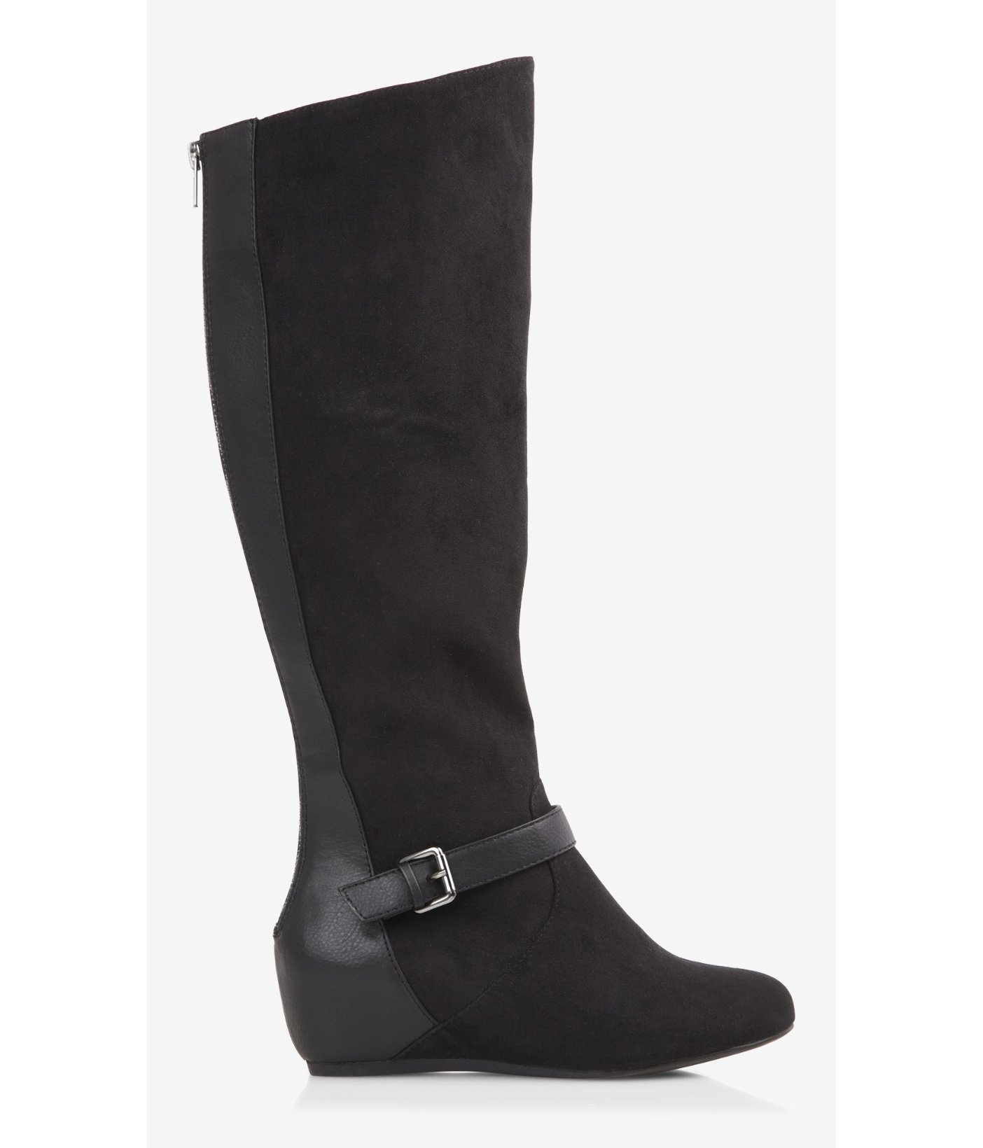 express wide calf buckled wedge boot in black lyst