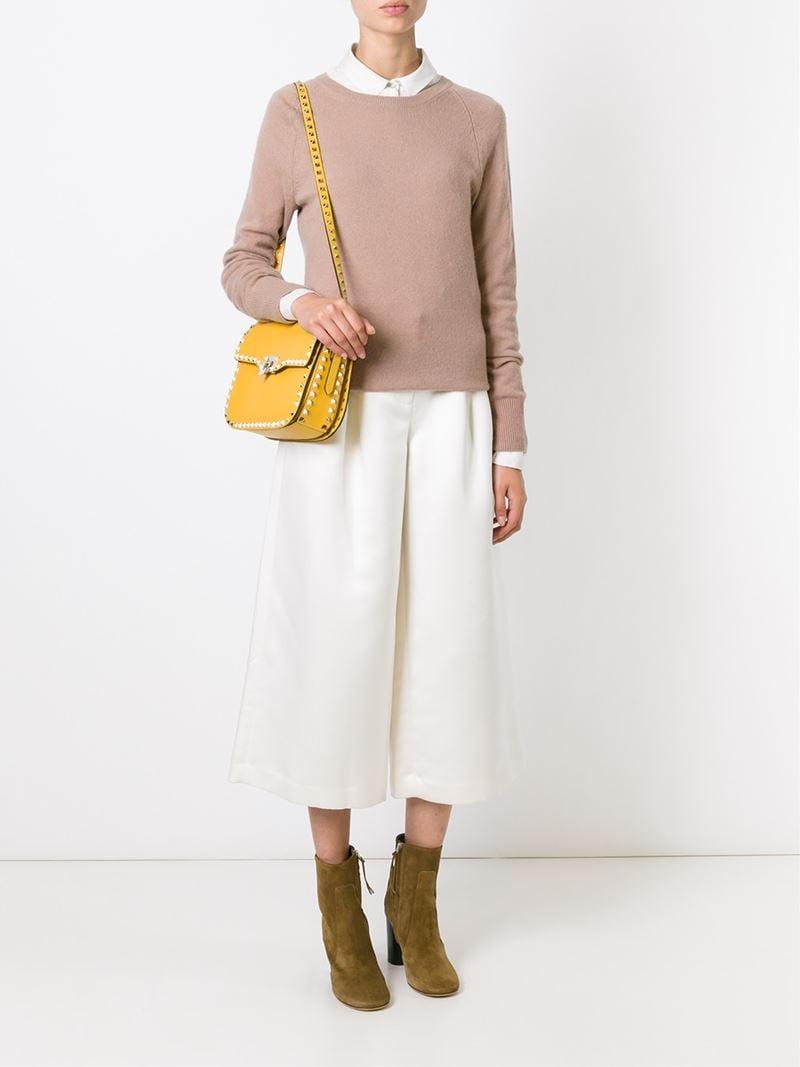 Valentino Rockstud Shoulder Bag In Yellow Amp Orange