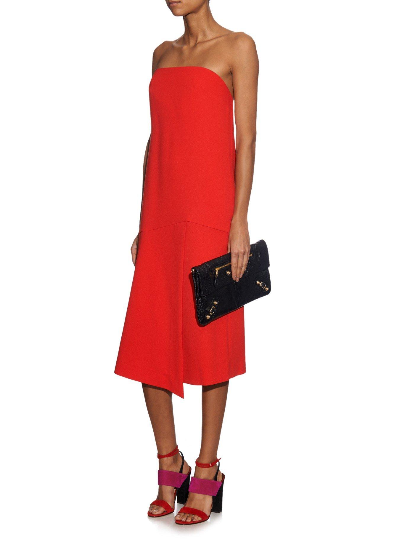 Tibi Strapless Drape Dress in Red - Lyst
