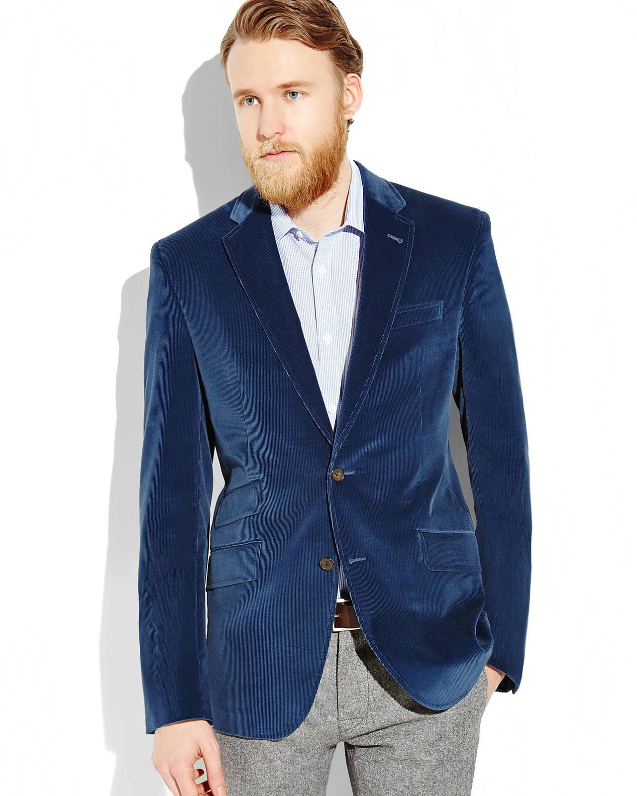 Ted baker Blue Corduroy Sport Coat in Blue for Men | Lyst
