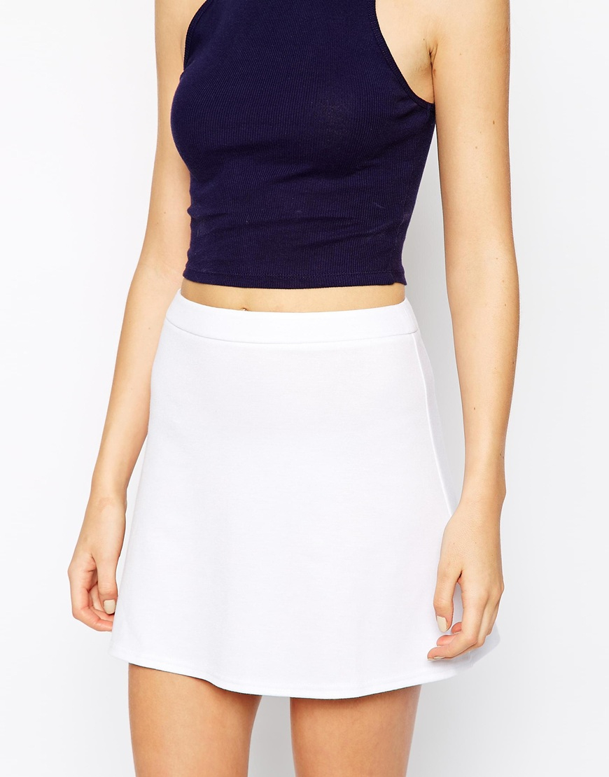 asos a line skirt in ponte in white lyst