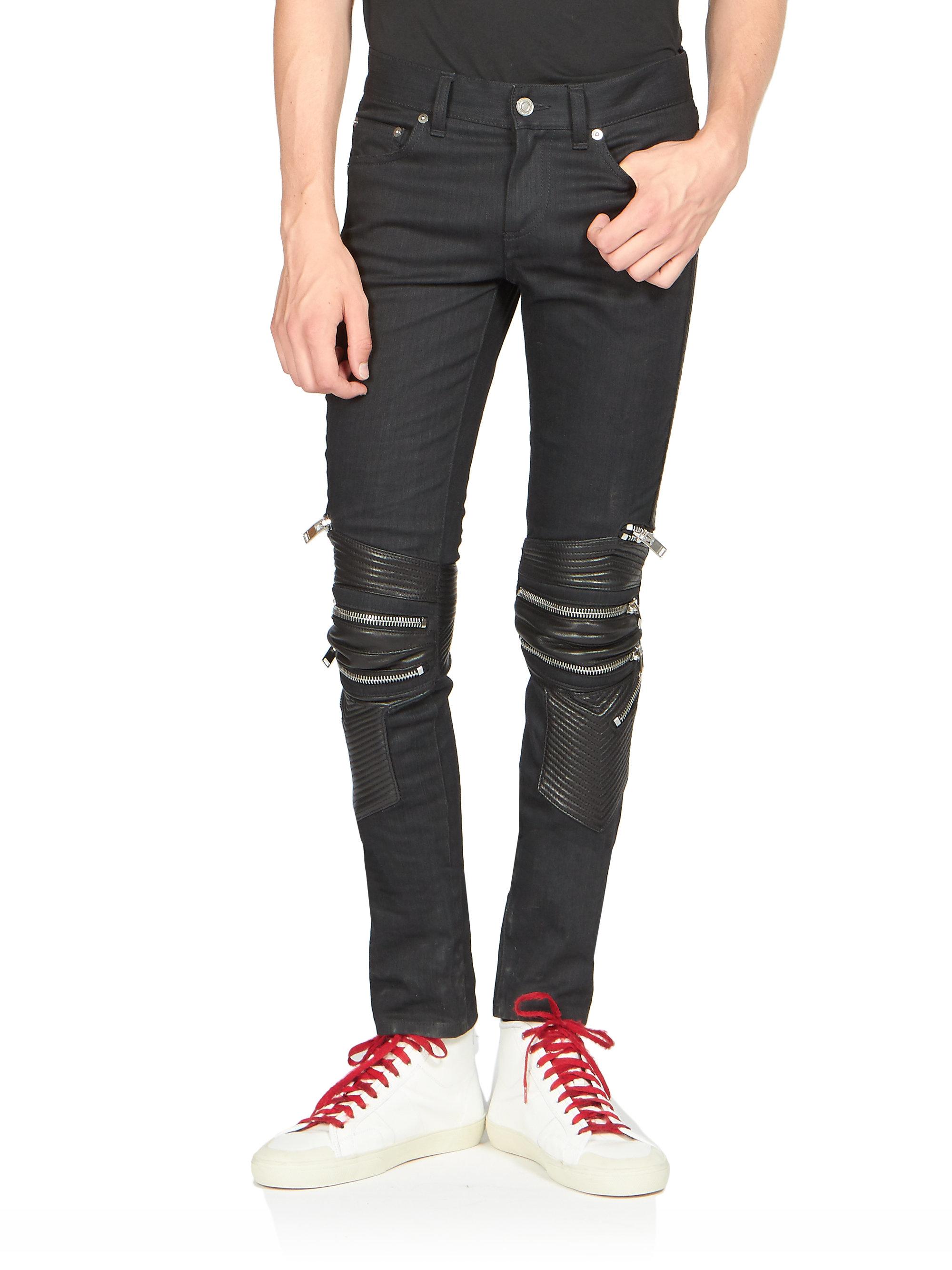 83c19b26f74 Saint Laurent Leather-detail Moto Jeans in Black for Men - Lyst