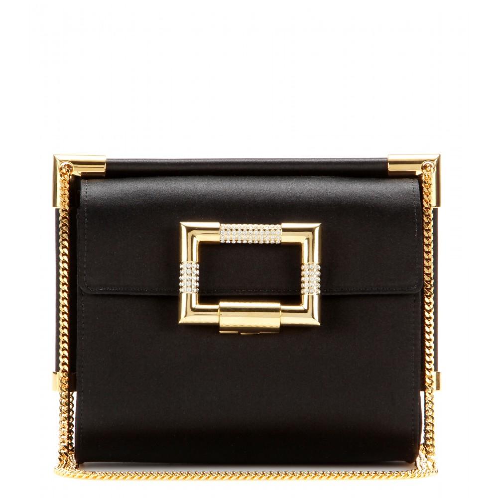 eb5e2e63ecad Lyst - Roger Vivier Miss Viv  Mini Evening Satin Shoulder Bag in Black