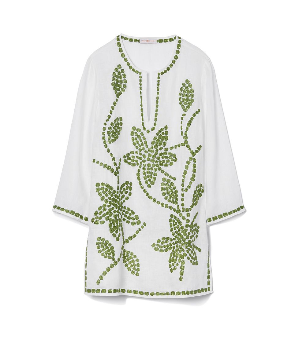 b937b502209 Tory Burch Embroidered Floral Linen Tunic in Green - Lyst