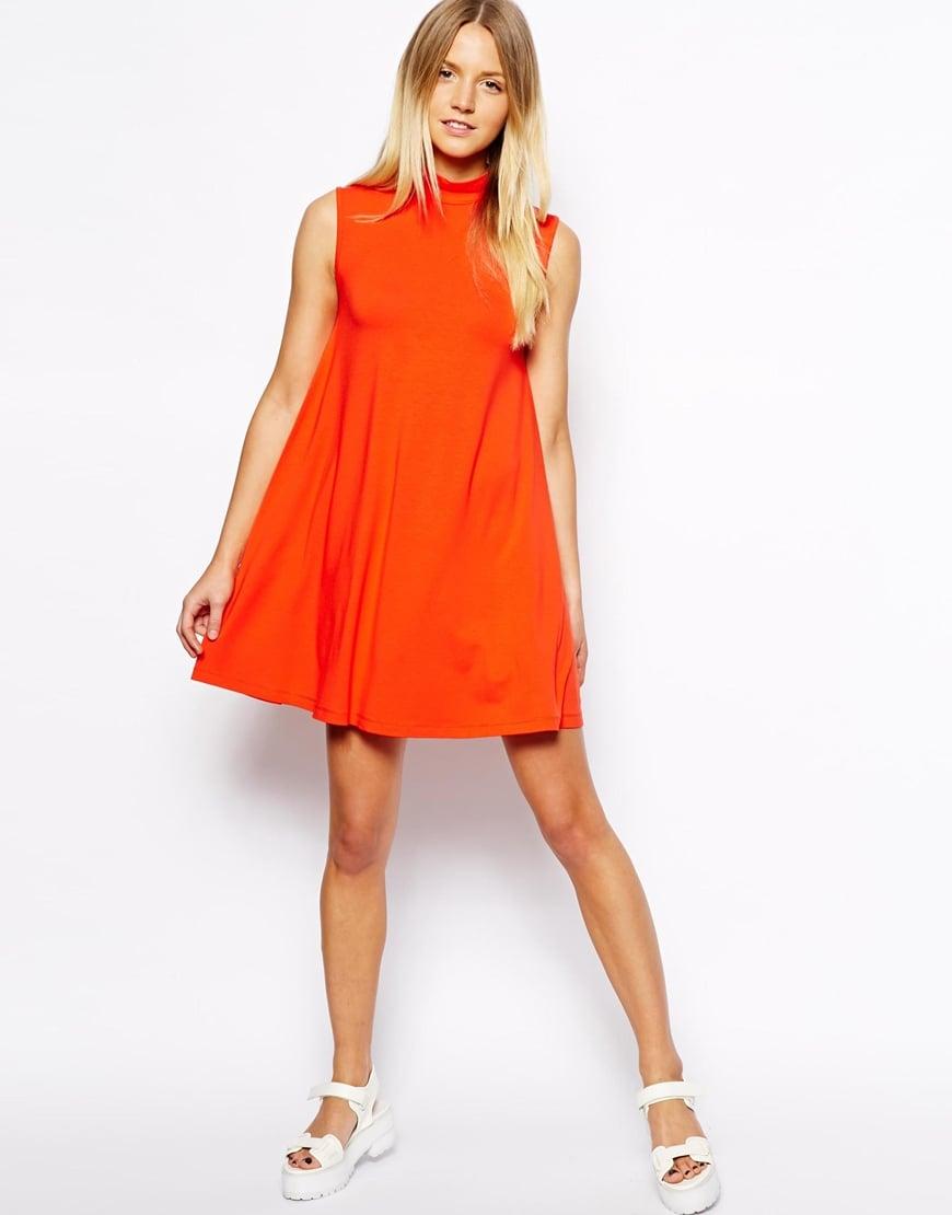 Asos Exclusive Turtle Neck Swing Dress in Orange | Lyst