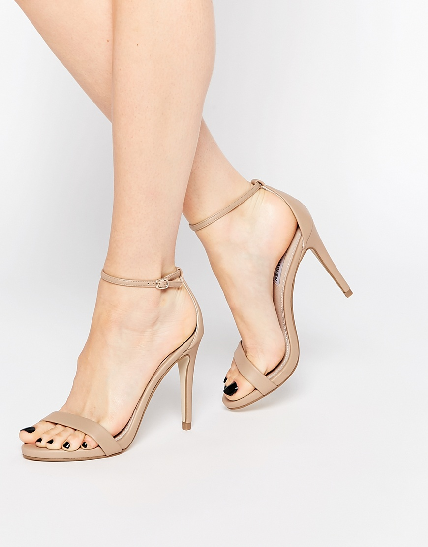 1c9ea9387ad Steve Madden Natural Stecy Nude Barely There Heeled Sandals