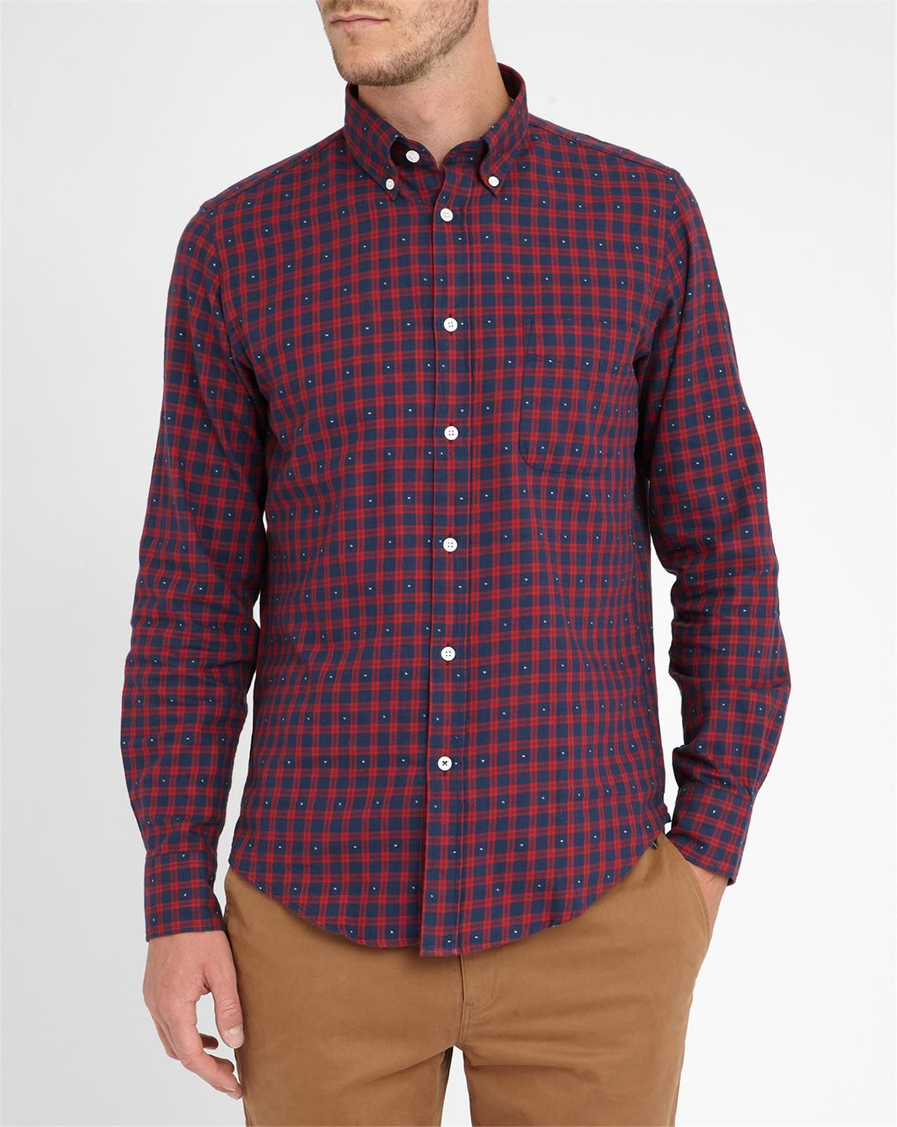 Hartford red with white detail slim fit flannel plaid for Trim fit flannel shirts