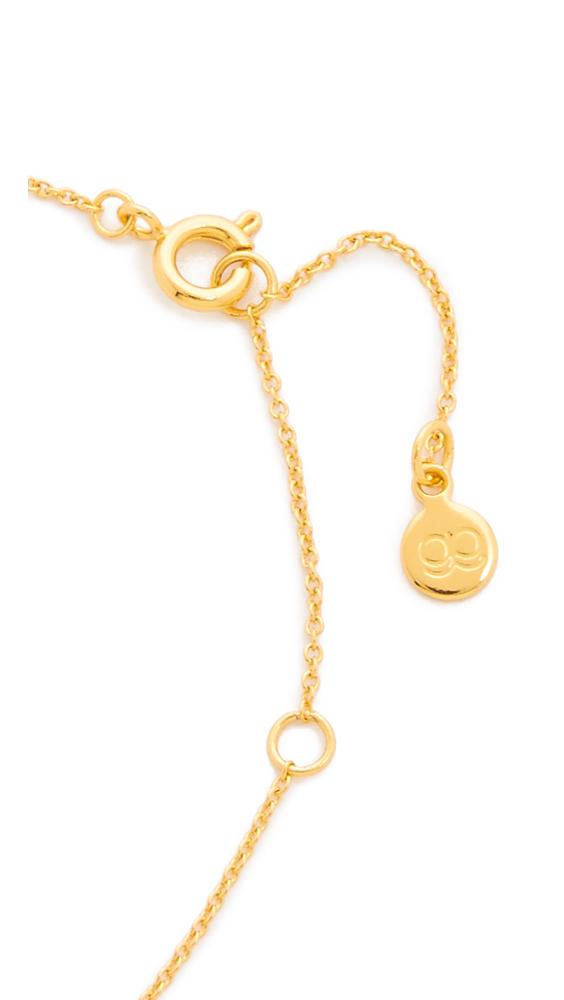 gorjana shimmer block letter necklace in metallic lyst