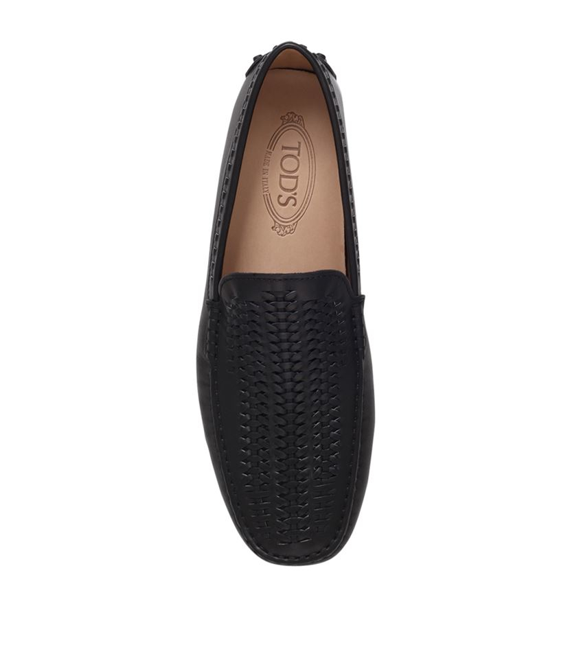 Tod's Leather Woven Vamp Driving Shoe in Black for Men