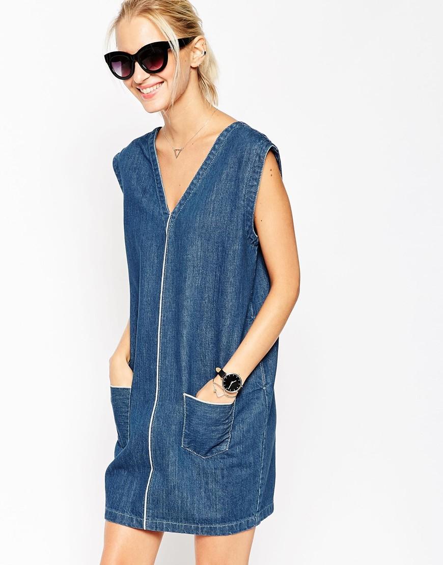 Asos selvedge denim dress blue in blue lyst for Non see through white dress shirt
