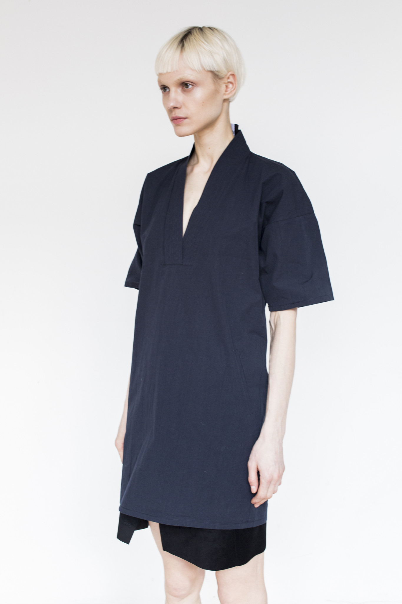 assembly cotton karate dress navy in blue lyst