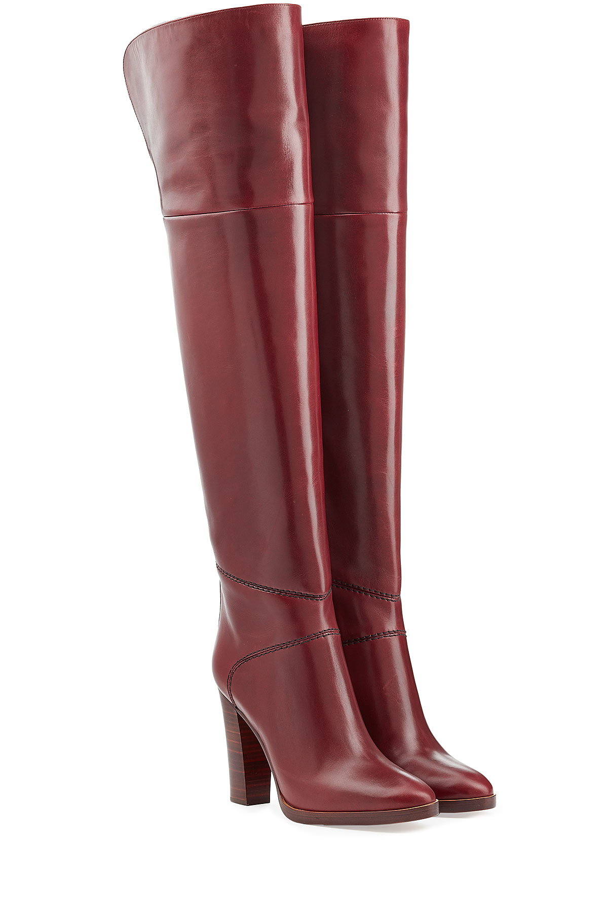 f39d8896cae Chloé Chloé Over-the-knee Leather Boots - Red in Purple - Lyst