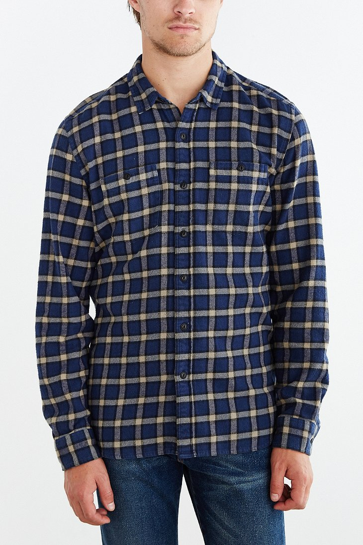 Lyst stapleford chico plaid flannel button down shirt in for Navy blue plaid shirt