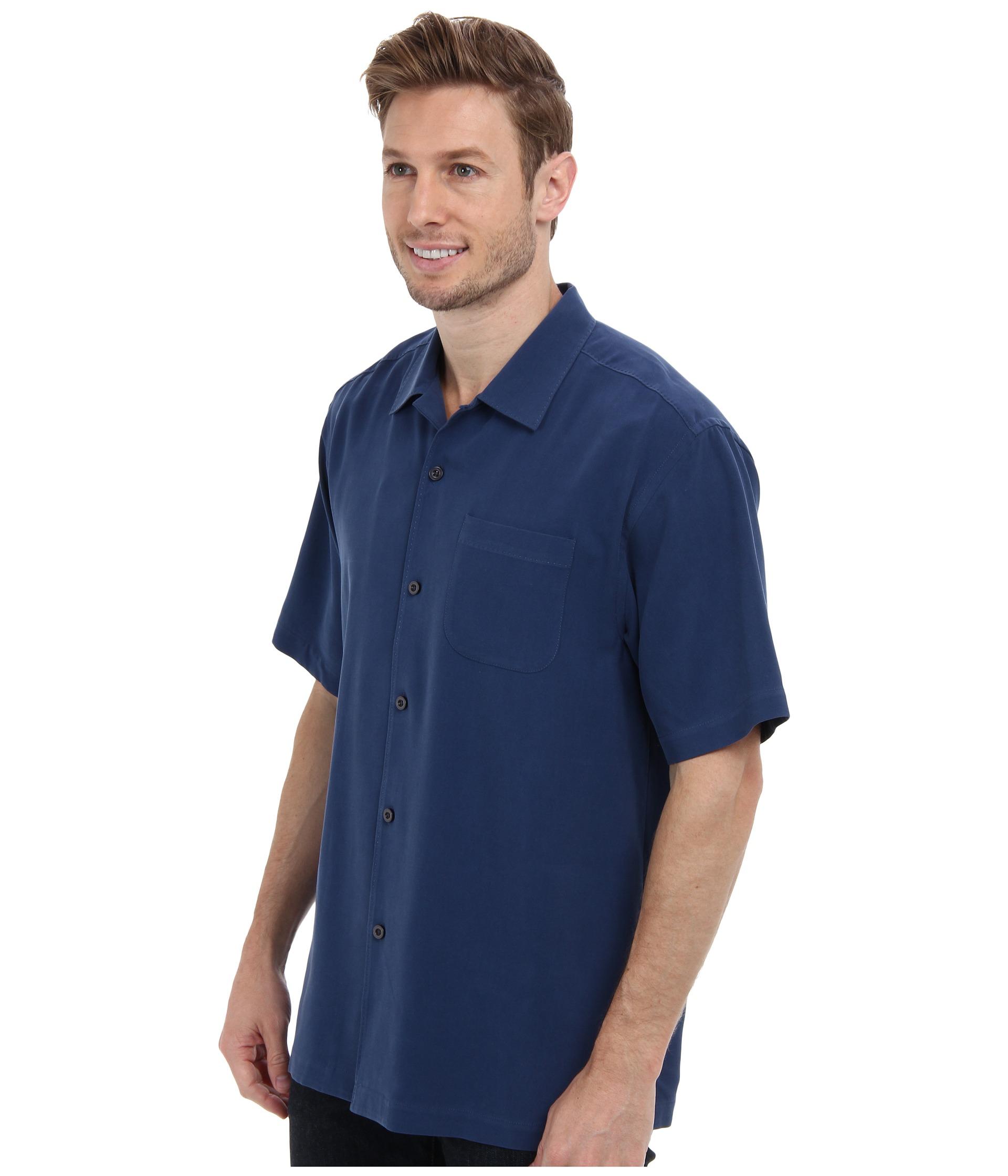 Tommy bahama catalina twill camp shirt in blue for men for Tommy bahama catalina twill silk camp shirt