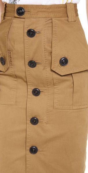 Dsquared2 Utility Pencil Skirt In Khaki Lyst