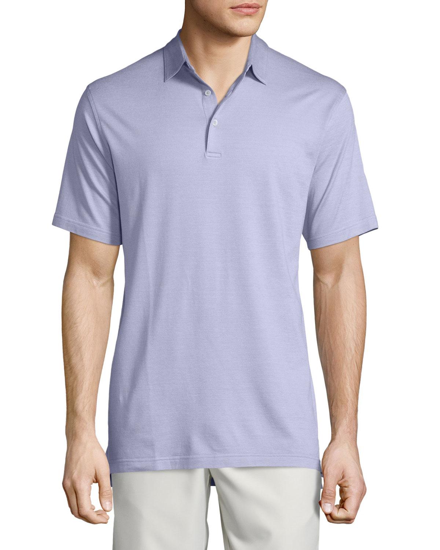 Peter millar short sleeve pique polo shirt in purple for for Peter millar polo shirts