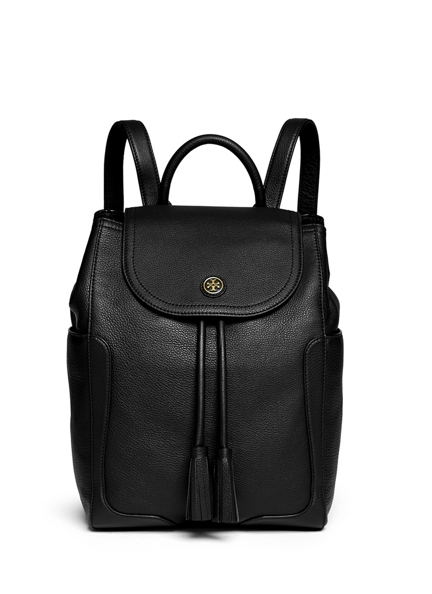 Tory burch 'frances' Pebbled Leather Flap Backpack in Black | Lyst
