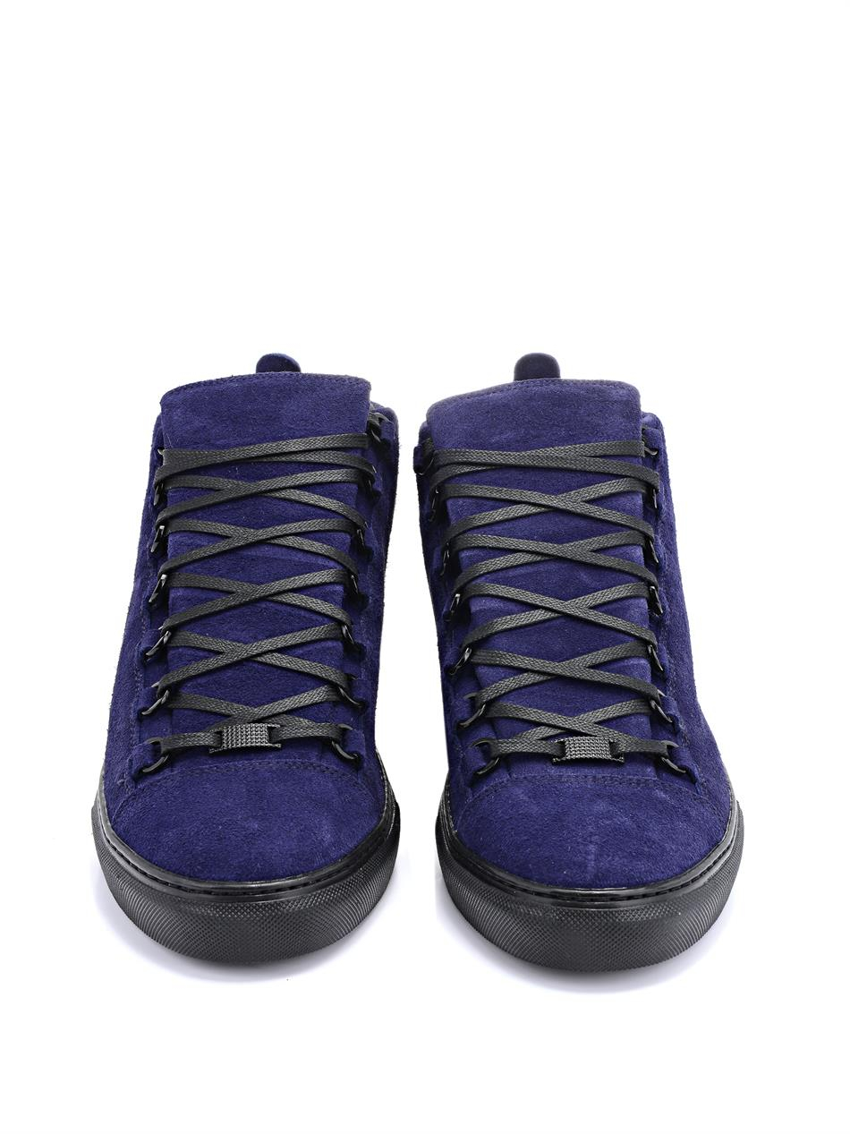Lyst Balenciaga Arena Suede High Top Sneakers In Blue