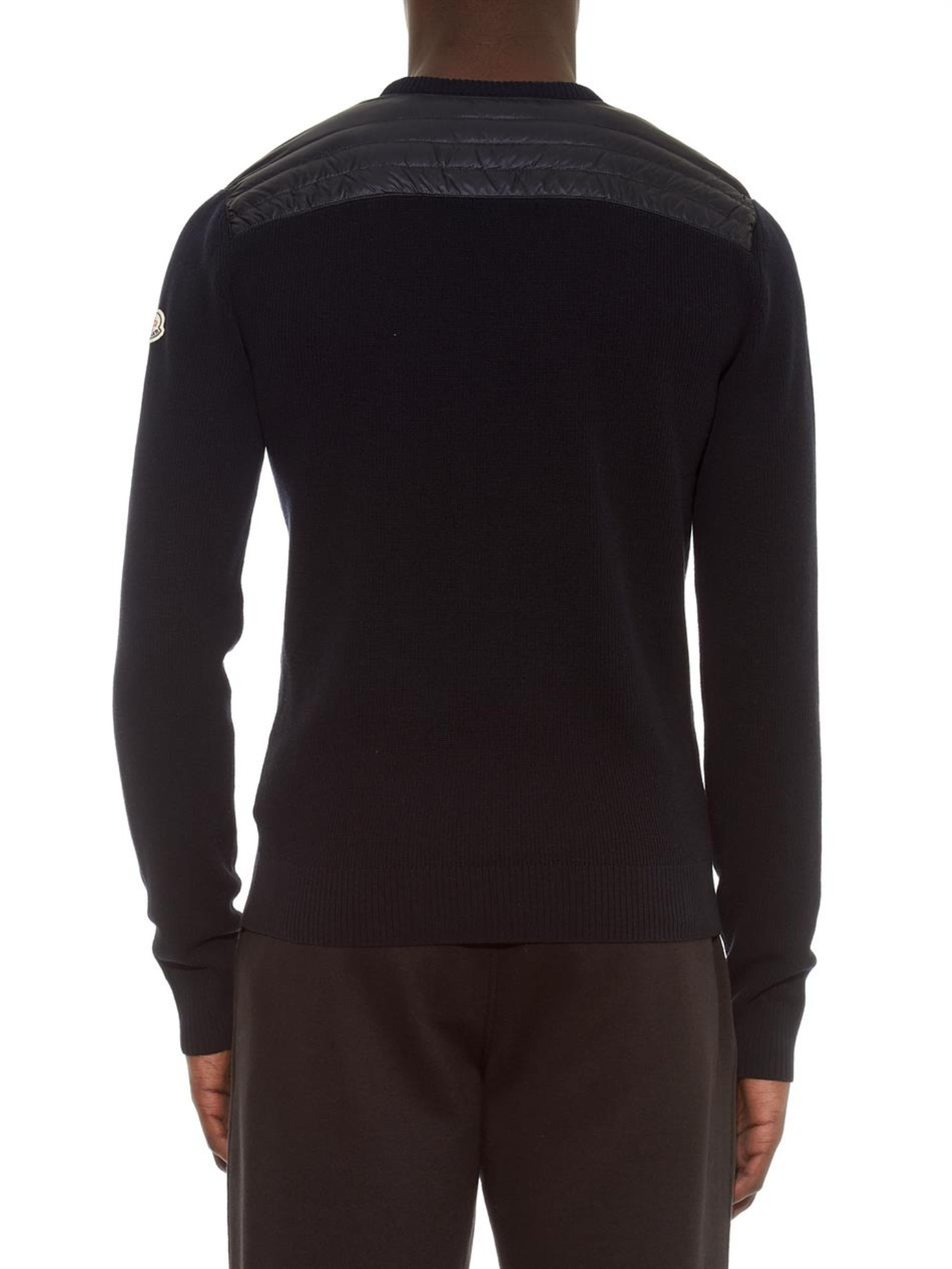 Moncler Cotton Maglia Crew Neck Sweater In Navy Blue For