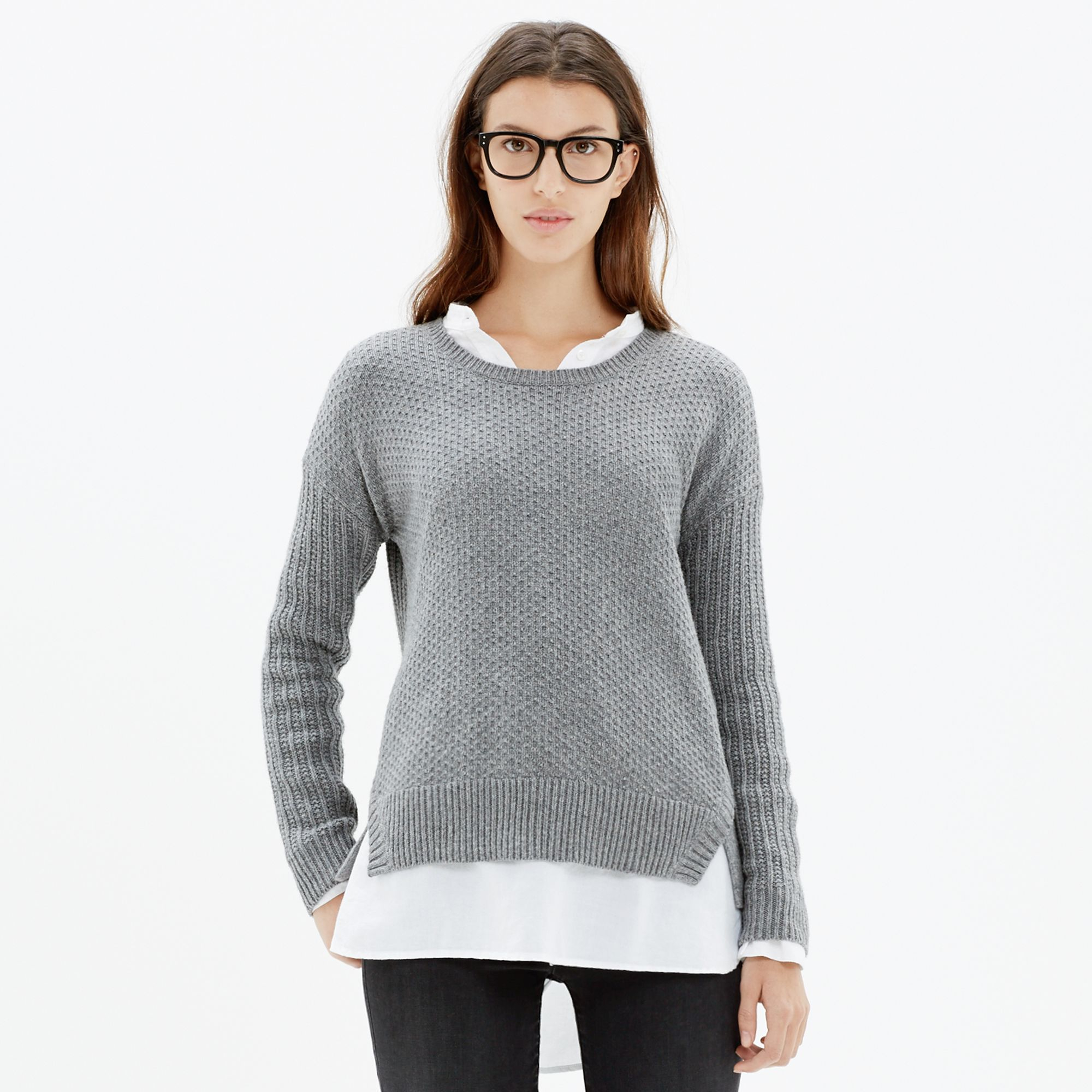 lyst madewell texturemix pullover sweater in gray. Black Bedroom Furniture Sets. Home Design Ideas