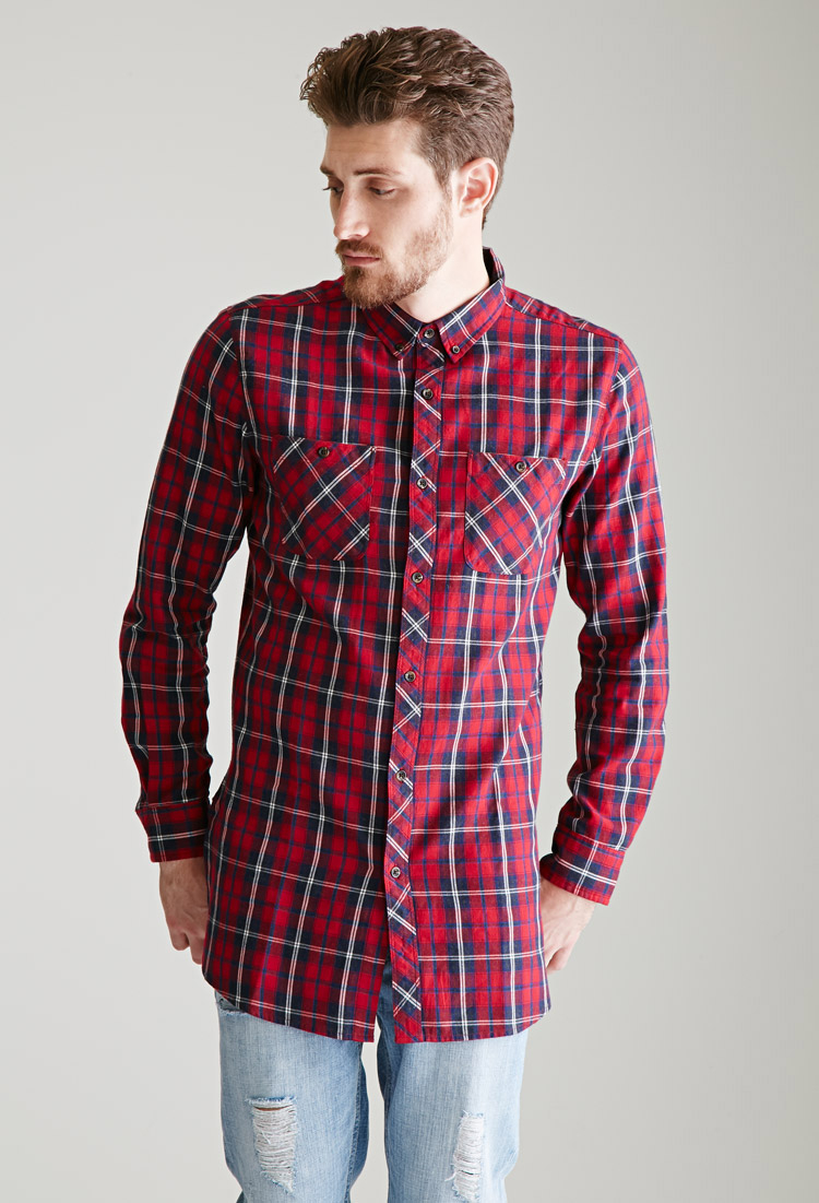 Lyst forever 21 longline tartan plaid flannel shirt in for How to wash flannel shirts