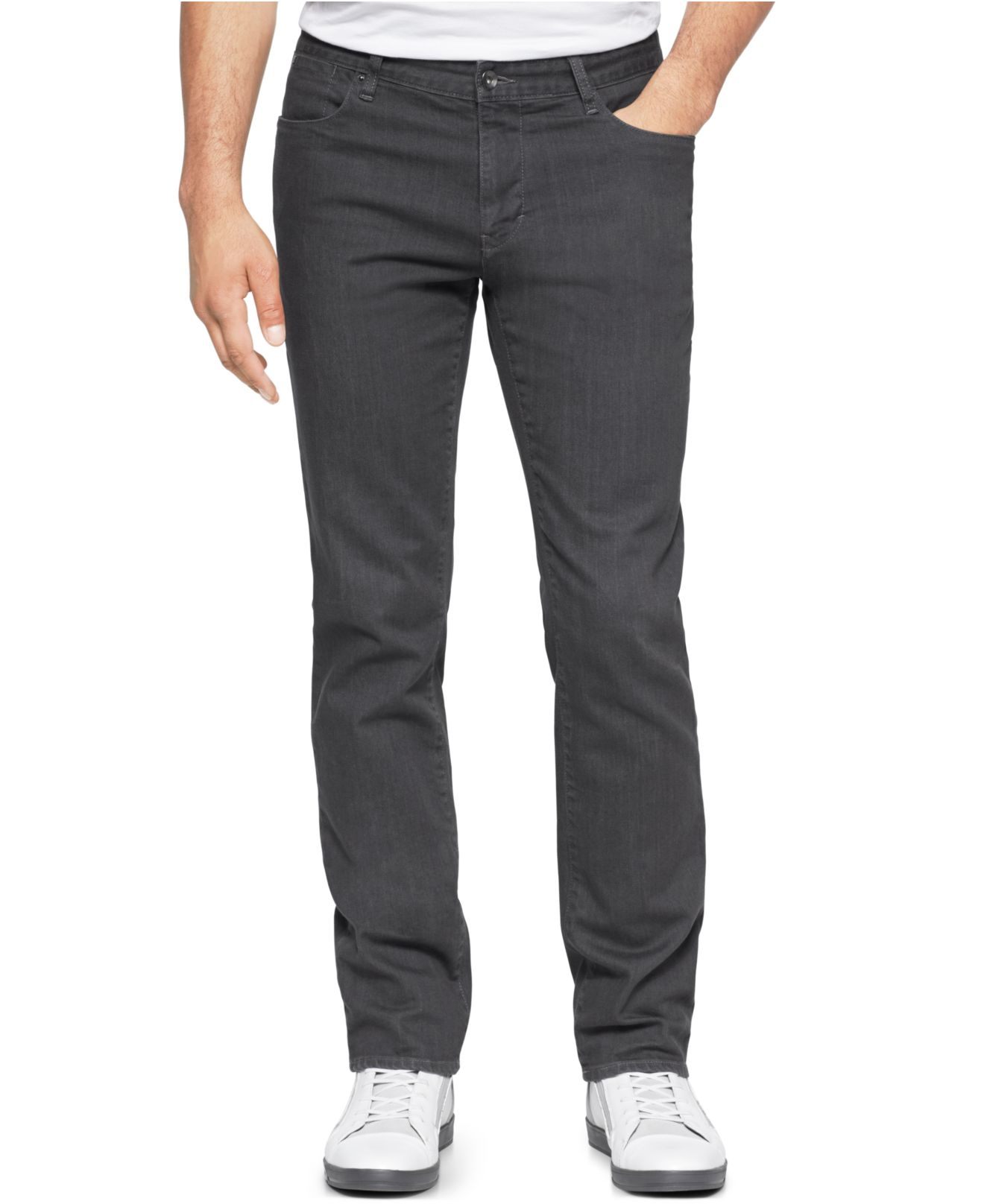 Calvin klein 5-pocket Grey Slim Fit Straight Leg Pants in ...