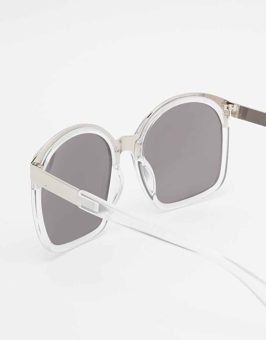 ASOS Retro Sandwich Sunglasses In Clear Frame - Clear in Grey