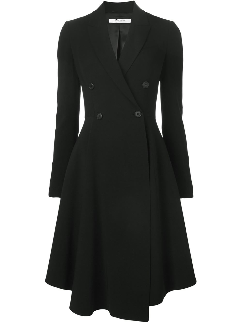 Lyst Givenchy Double Breasted Coat In Black