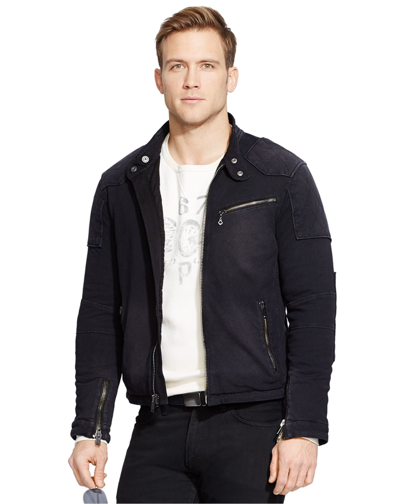 lyst polo ralph lauren knit moto jacket in black for men. Black Bedroom Furniture Sets. Home Design Ideas