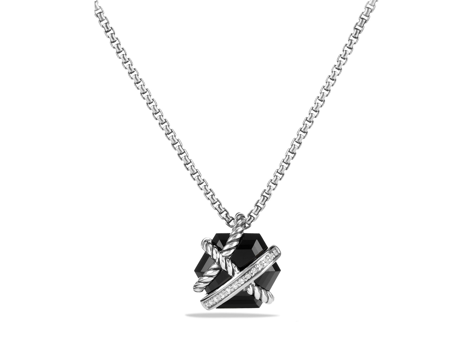 a714684437d7 Lyst - David Yurman Petite Cable Wrap Necklace With Black Onyx And ...