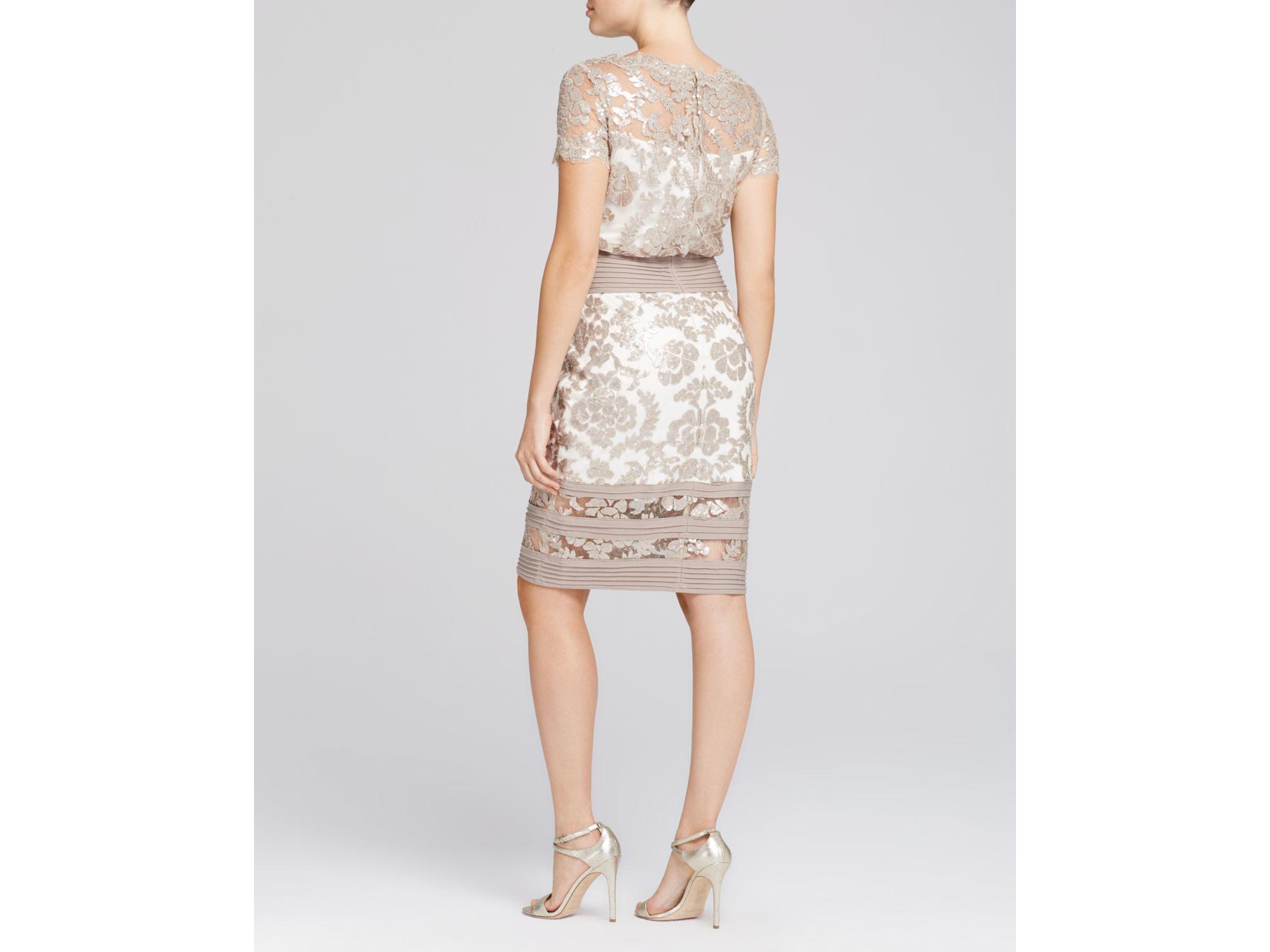 Short Sleeve Sequin Lace Blouson Dress