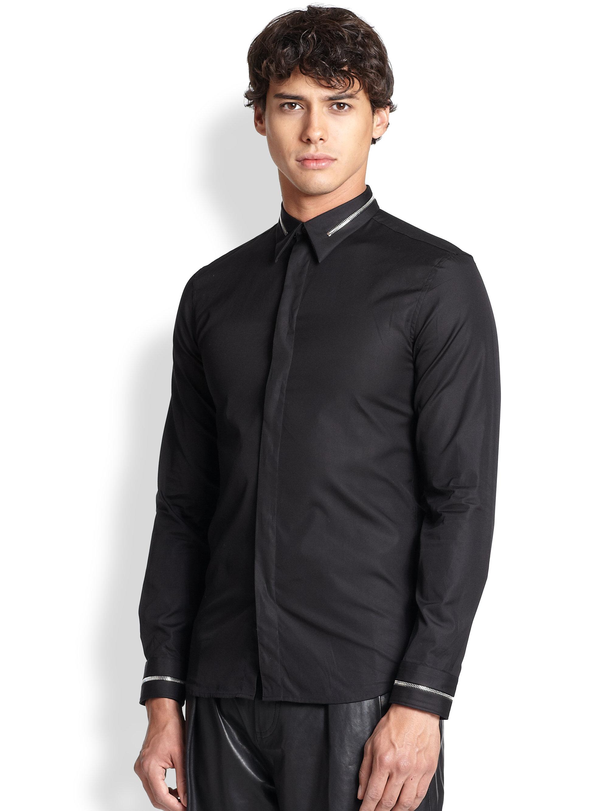 givenchy zip embellished sportshirt in black for men lyst. Black Bedroom Furniture Sets. Home Design Ideas