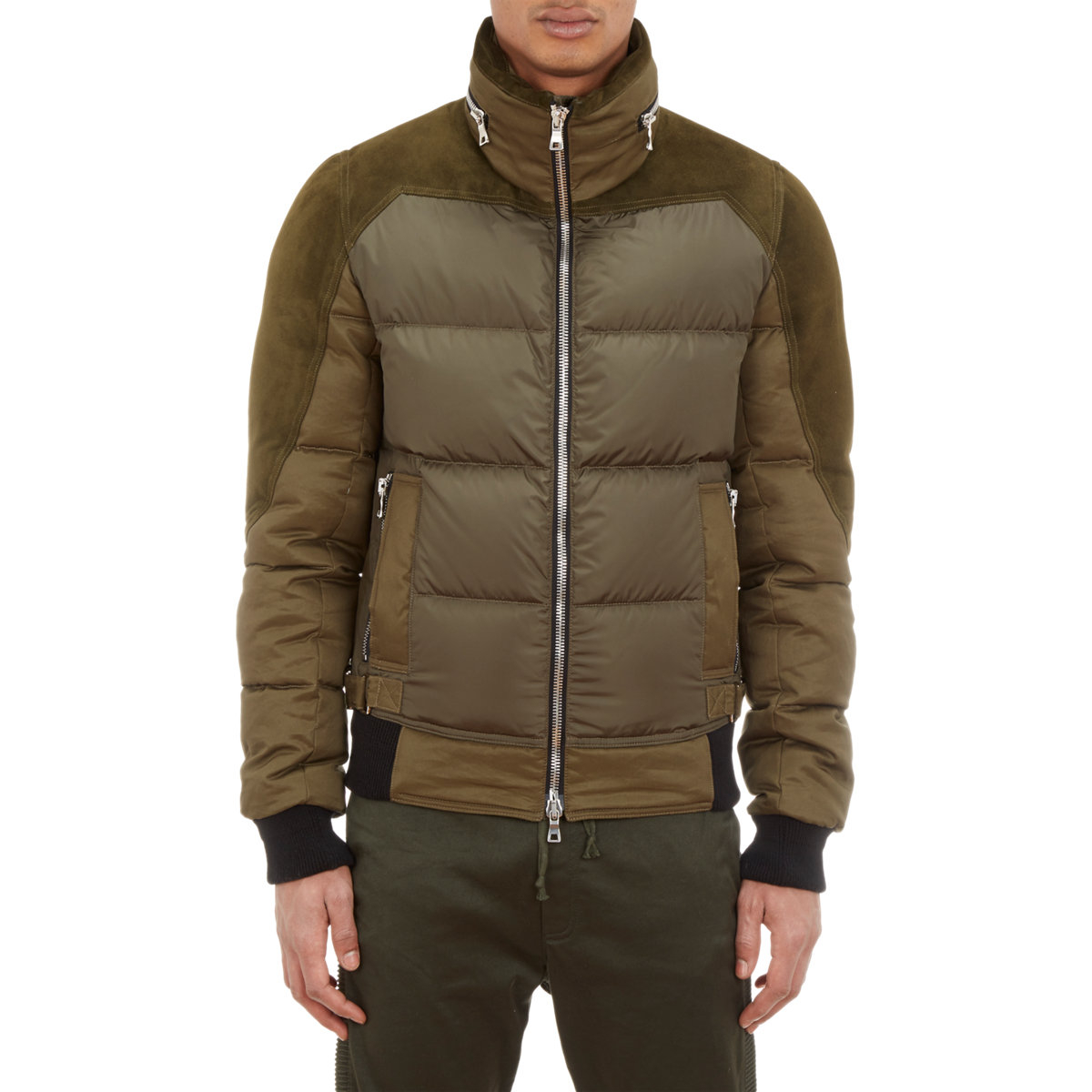 Balmain Suede Trim Down Puffer Jacket In Green For Men Lyst