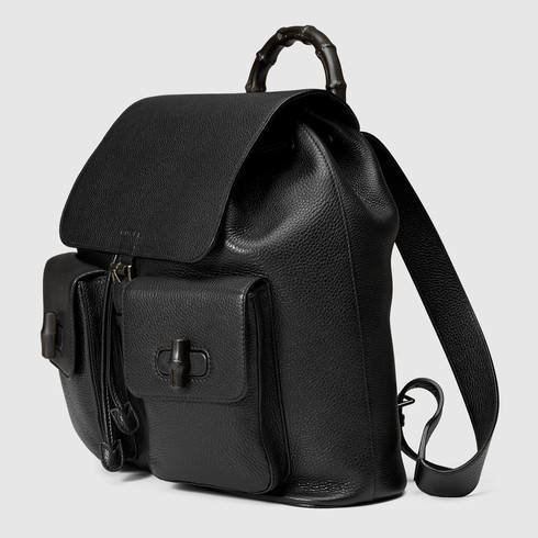 33773d47d13 Lyst - Gucci Leather Backpack With Bamboo in Black for Men