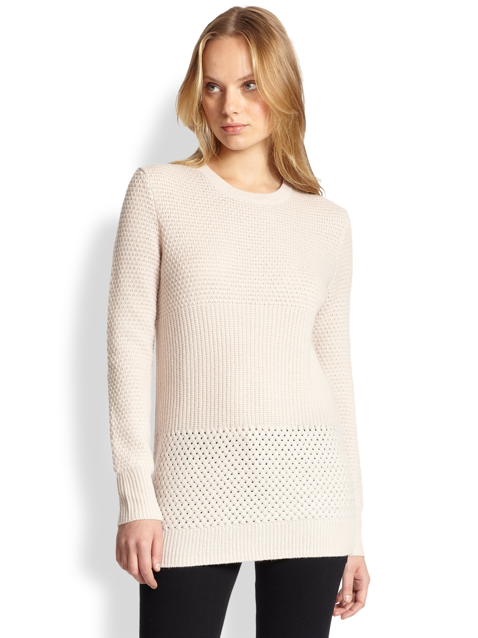Equipment Rei Mixed-Stitch Wool & Cashmere Sweater in Natural | Lyst
