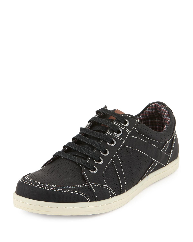 ben sherman knox perforated sneaker in black for men lyst