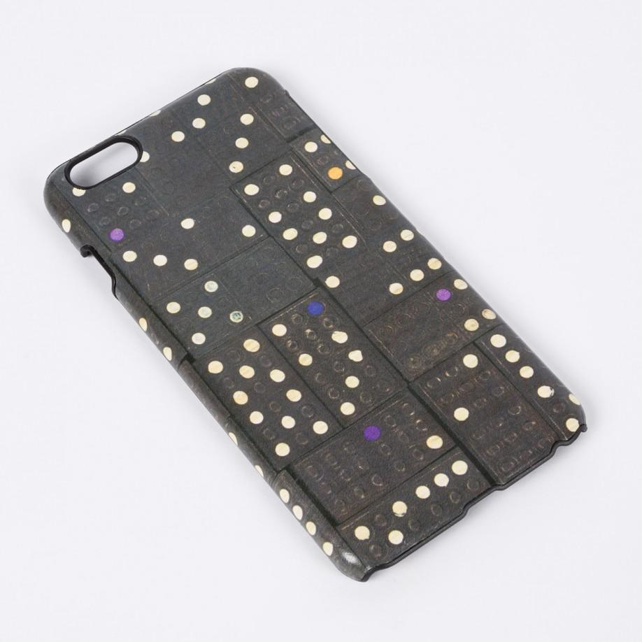 newest 4605a 63060 Paul Smith Black Leather 'dominoes' Print Iphone 6 Plus Case