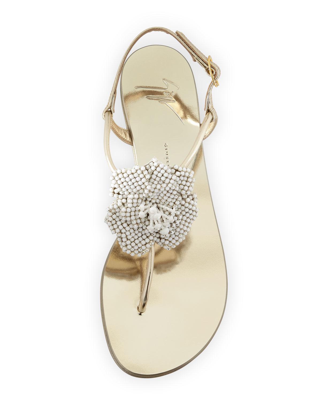 f733fa907075 ... france lyst giuseppe zanotti metallic crystal leather flat sandals in  2e22a 399fe ...