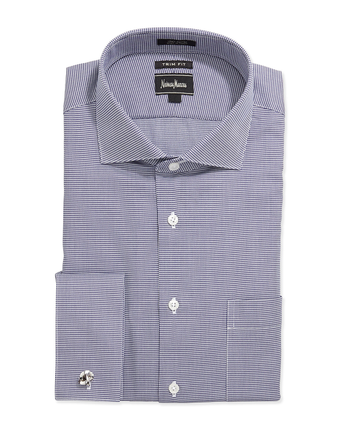Neiman marcus trim fit regular finish micro check dress for Blue check dress shirt