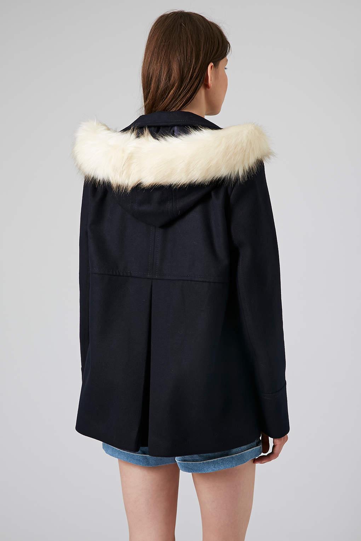 Navy fur parka coat