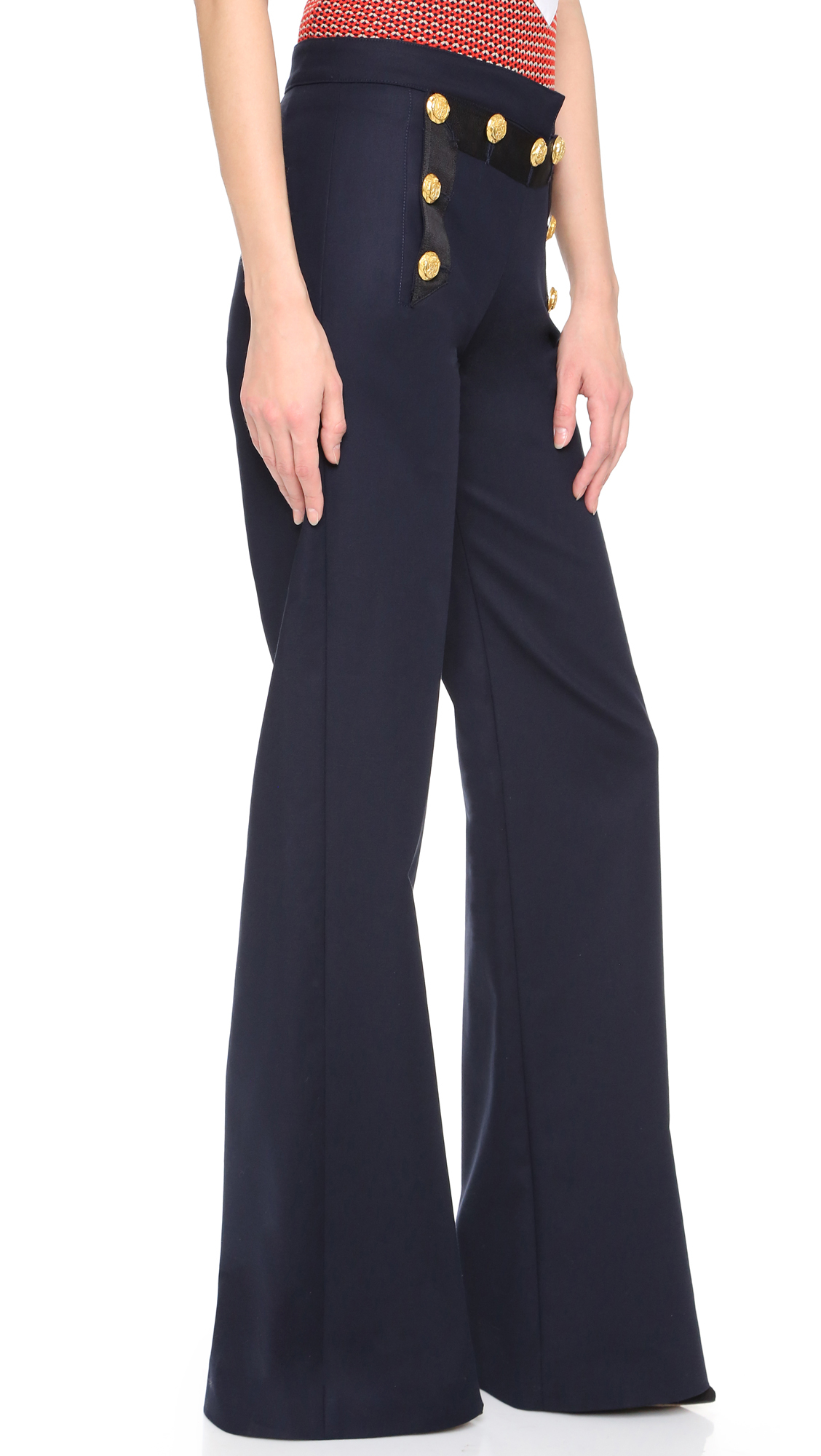 Veronica beard Tide Line Wide Leg Sailor Pants - Navy in Blue | Lyst